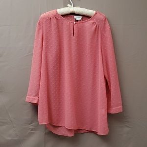 Van Heusen Pink Dobby Long Sleeves Blouse